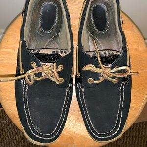 Sperry topsider shoes black/cheetah/gold size 10
